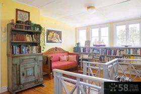 美式乡村别墅卧室床连书柜效果图