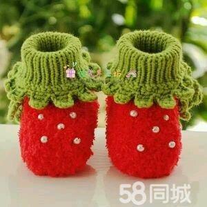 纯手工针织宝宝毛线鞋