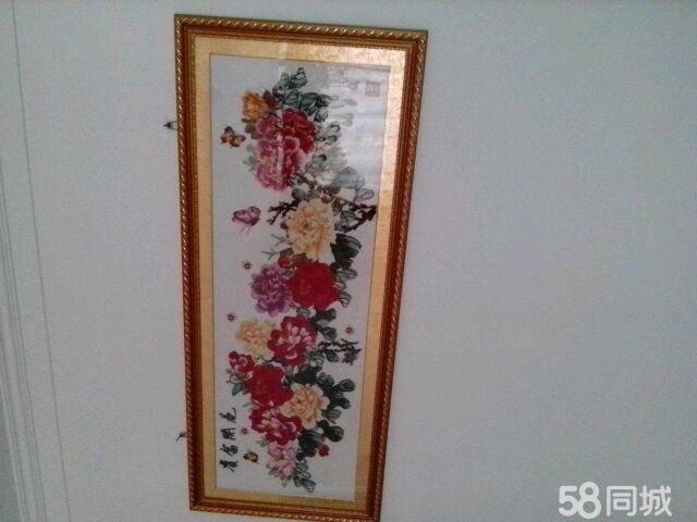 临沂二手艺术品/收藏品 临沂二手书法绘画  富贵牡丹,金色边框,高端