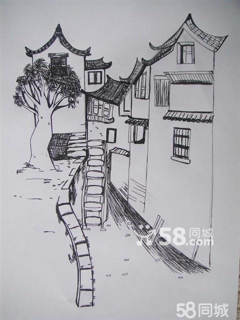 简单风景画的铅笔素描,风景画素描 简单 初一,简单 .