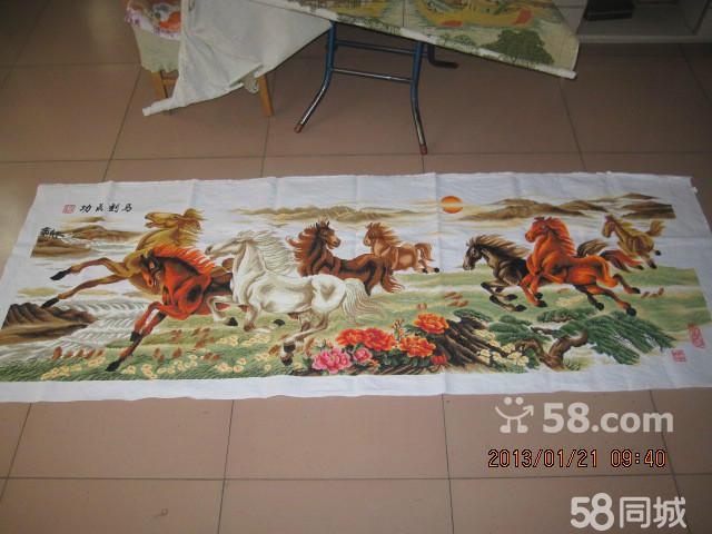 纯手工十字绣八骏图马到成功2.4米成品低价出售