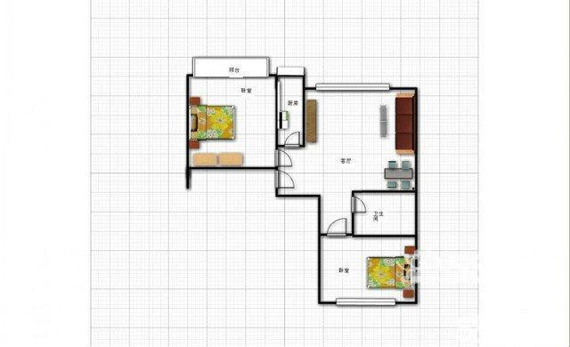 两室一厅一厨一卫设计图展示