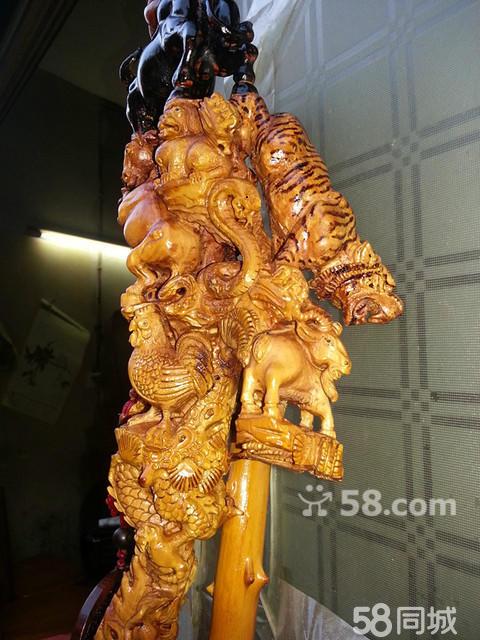 十二生肖手工雕刻拐杖