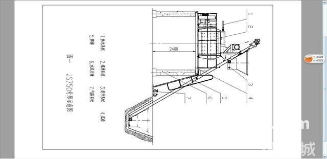 1、概述    JS750型强制式搅拌机(见图一),它能搅拌干硬性、塑性混凝土、轻骨料混凝土及各种砂浆。本机搅拌系统采用双卧轴结构;出料结构由气缸单独推动,出料空间大;提升系统采用锥形制动电机单独驱动,安全可靠。本机搅拌迅速、生产率高、搅拌均匀、质量好、出料迅捷,操作维护更为方便。    本搅拌机可单独使用,也可与我公司生产的WTPD1200型、WTPS1200型配料机匹配,实行混凝土标准化生产,或根据需要组合成搅拌站。本机适合各种混凝土生产现场,如修建公路、机场、电站、大坝、房屋或混凝土构件预制场等。