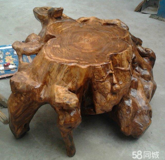 自制国槐根雕茶海 艺术品 收藏品 泰安