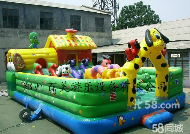 流行儿童充气城堡,快乐鳄鱼光头强中型充气城堡玩具