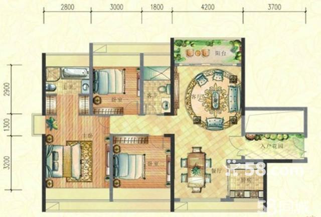 长方形两室一厅改三房设计图展示图片