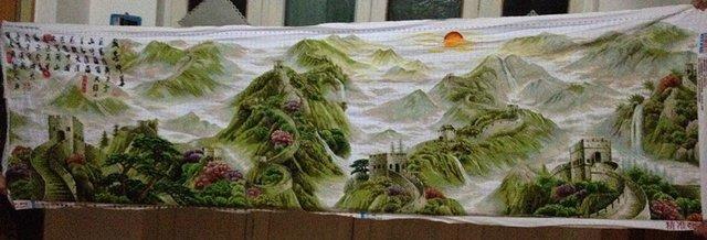 盛世中华 纯手工十字绣一幅,335 100cm高清图片