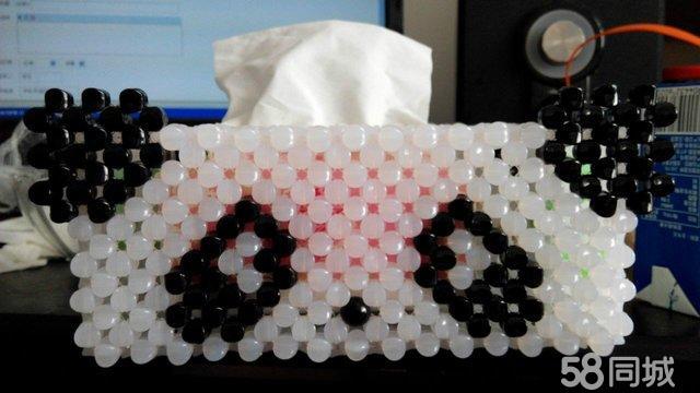 纯手工穿珠编制抽纸盒 熊猫样式