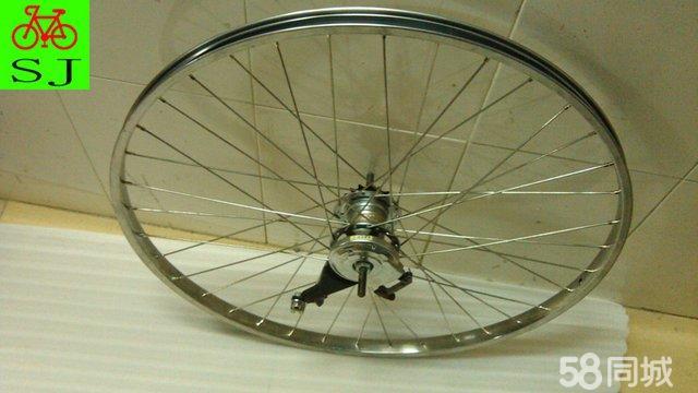 日本二手自行车配件 自编改装内三速后轮组 不锈钢圈 转把 指拔图片