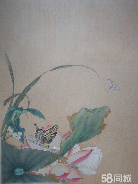 规格 :约47厘米×62厘米(不含卡纸尺寸),熟宣纸,未裱 《荷花夹蝶图