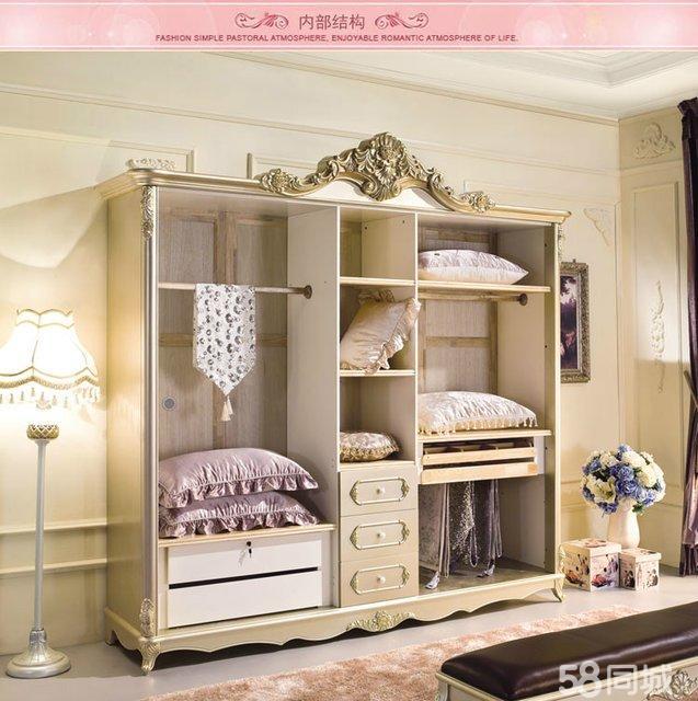 ?#26700;?#23478;具法式欧式衣柜卧室实木衣橱五门衣柜奢华柜子