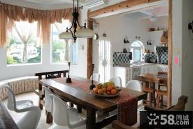 田园风格餐厅飘窗窗帘设计图片