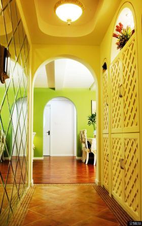 2013田园风格三居室优质室内过道玄关黄色鞋柜仿古地砖装修效果图片