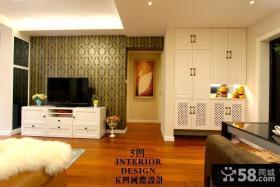 现代美式家装客厅电视背景墙壁纸图片