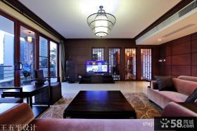 新中式风格大客厅电视机背景墙效果图