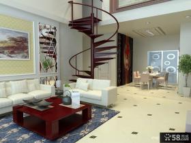 复式楼室内旋转楼梯图片
