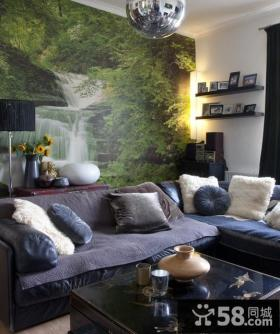 小户型客厅沙发山水画背景墙装修效果图
