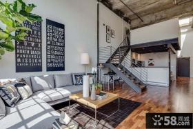后现代风格复式客厅装修设计图片