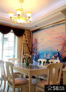 欧式风格壁画餐厅背景墙效果图