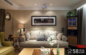 田园简约风格客厅沙发背景墙装饰画图片
