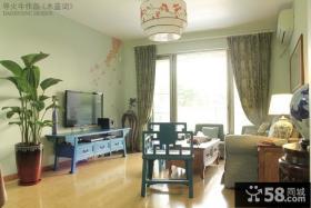 新中式客厅壁纸电视墙效果图