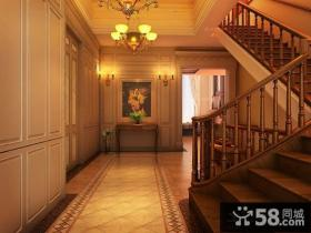 美式别墅玄关油画装修效果图
