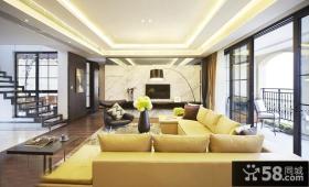 现代别墅客厅大理石电视背景墙效果图