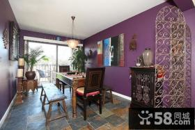 紫色餐厅隔断装修效果图