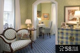 50平米小户型田园风格素雅的卧室窗帘装修效果图大全2014