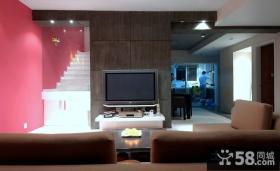 小复式客厅电视背景墙装饰效果图