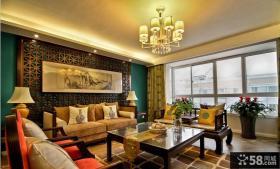 中式风格别墅室内客厅效果图
