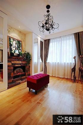 美式仿古风格客厅遮光窗帘效果图