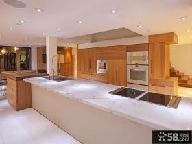 现代开放式厨房整体橱柜装修效果图