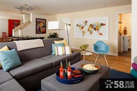 清新简约美式风格装修客厅装修效果图大全2012图片