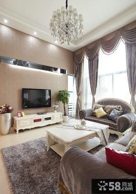 简欧精装修设计客厅电视背景墙效果图