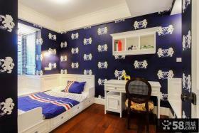 深蓝色美式混搭儿童房