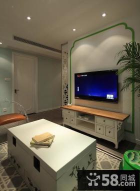新中式家居客厅电视背景墙装饰图片