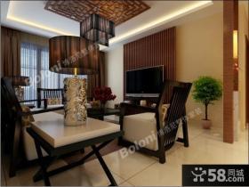 新中式客厅电视背景墙设计效果图