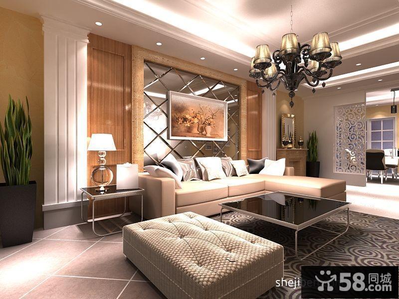 【客厅欧式沙发背景墙效果图】