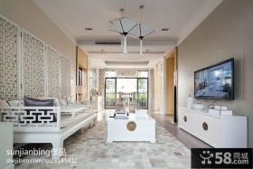 现代中式家装客厅电视背景墙装修设计图