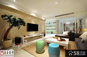 现代中式风格客厅电视背景墙图片欣赏
