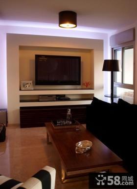 现代黑白电视背景墙装修效果图