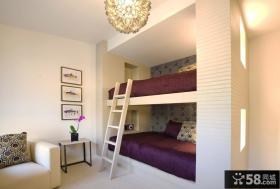现代简约风格上下铺床设计 儿童房上下铺床装修效果图