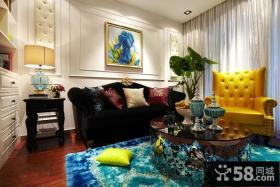 现代风格婚房客厅沙发背景墙效果图