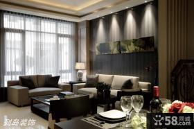 现代简约风格客厅沙发背景墙挂画效果图欣赏