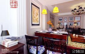 美式风格小餐厅实木餐桌图片