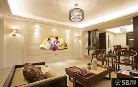 中式风格客厅折扇背景墙设计效果图欣赏