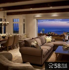 咖啡色复式楼客厅装修效果图大全2014图片