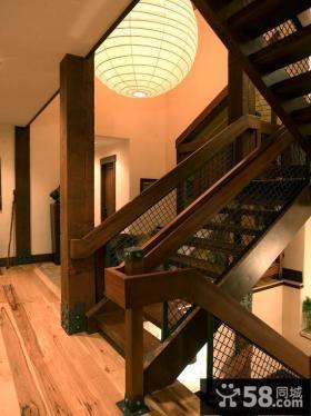 楼梯栏杆木扶手图片